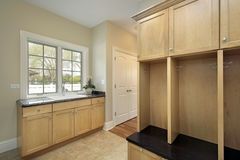 Mud room in new construction home Stock Image