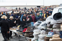Mud Sale Buyers. Bart, PA - March 5, 2011: The crowd looking at items for sale at the annual fire company mud sale in Lancaster County Royalty Free Stock Photo