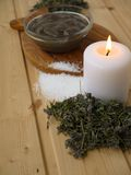 Mud,salt,candle and dry lavender Royalty Free Stock Photos