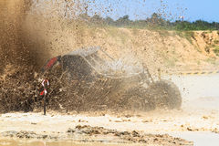 Mud splash. In off road competition stock images