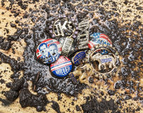 Mud splattered Republican Party campaign pins Royalty Free Stock Photo