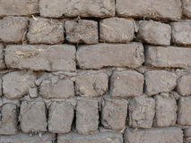 Mud and straw bricks wall Stock Photography
