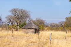 Mud straw and wooden hut with thatched roof in the bush. Local village in the rural Caprivi Strip, the most populated region in Na Stock Images