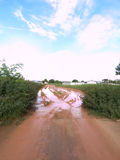 Mud street. Streets filled with mud, arduous journey Royalty Free Stock Image