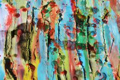 Mud, strokes of brush, watercolor hues and wax Stock Photos