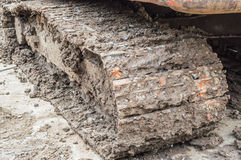 Mud stuck wheels, heavy-duty construction. Stock Photos