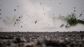 Mud volcano Bledug Kuwu, Indonesia. Mud volcano with bursting bubble bledug kuwu. volcanic plateau with geothermal activity and geysers, slow motion Indonesia stock video