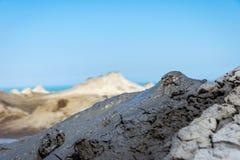 Mud volcano erupting mud, Gobustan, Azerbaijan Stock Image