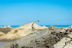 Mud volcano erupting mud, Gobustan, Azerbaijan Stock Images