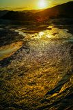 Mud volcano flowing Royalty Free Stock Photo