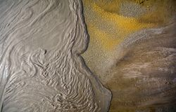 Mud volcano from Romania, detailed closeup of nature. At Paclele Mici Buzau county stock photography