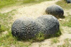 Trovant. Ii – the strangest 'living stones' in Romania. Trovanţii are sandstone formations with a texture more solid than the layer they grow in. They Stock Image