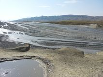 Mud volcano valley royalty free stock image