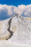 Mud volcano. Against blue cloudy sky in the Berca region, Buzau county, Romania royalty free stock images