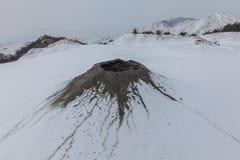 Mud Volcanoes in Buzau, Romania. Mud Volcanoes in winter. Location: Buzau Romania Stock Images