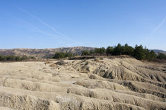 Mud volcanoes in Buzau. Romania. Natural gas and mud erruption Royalty Free Stock Photography
