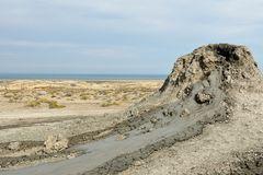 Mud volcanoes of Gobustan near Baku, Azerbaijan stock photography