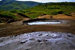 Mud volcanoes - Romania stock photos