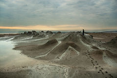 Mud Volcanoes Sunrise Stock Photography