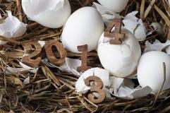 2013 mudança a 2014, conceito dos ovos Fotos de Stock Royalty Free