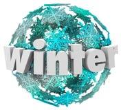 Mudança da estação da bola da neve do floco de neve da palavra do inverno Imagens de Stock Royalty Free