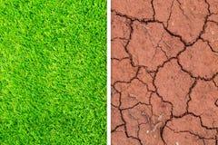 Mudança da grama verde da natureza de Eco para secar o fundo do solo da quebra fotografia de stock