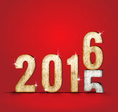 mudança do ano do número da madeira 2015 a 2016 anos na sala vermelha do estúdio, Ne Fotografia de Stock Royalty Free