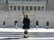 Mudança do protetor em Atenas Imagem de Stock