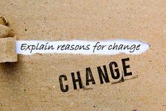 Mudança - explique razões para a mudança - estratégias bem sucedidas para a mudança fotografia de stock