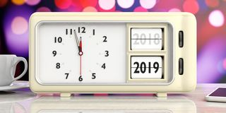 Mudança retro do ano do despertador desde 2018 até 2019, meia-noite, em festivo, fundo do bokeh ilustração 3D ilustração royalty free