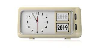 Mudança retro do ano do despertador desde 2018 até 2019, meia-noite, isolada no fundo branco ilustração 3D ilustração stock