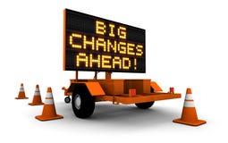 Mudanças grandes - mensagem do sinal da construção Fotografia de Stock