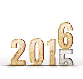 mudança do ano do número da madeira 2015 a 2016 anos na sala branca do estúdio, Fotografia de Stock Royalty Free