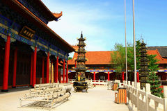 Mudanjiang Yuantong Temple. Is located at the foot of Jinlong Mountain of Mudanjiang city . it was founded in May 5 , 1996 which is the largest Guanyin  dojo of Stock Photography