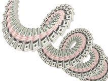 Mudanza de los paquetes de los dólares del dinero Fotografía de archivo libre de regalías
