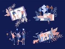 Mudanza de Team People Invitación y partido corporativo, cursos del negocio de aprendizaje del diseño, sobre nosotros, equipo de  stock de ilustración