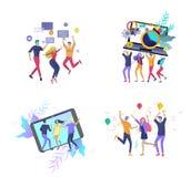 Mudanza de Team People Invitaci?n y partido corporativo, cursos del negocio de aprendizaje del dise?o, sobre nosotros, equipo de  stock de ilustración