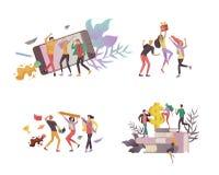 Mudanza de Team People Invitaci?n y partido corporativo, cursos del negocio de aprendizaje del dise?o, sobre nosotros, equipo de  libre illustration