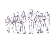 Mudanza dibujada mano del grupo de los empresarios adelante sobre el fondo blanco, Team Of Sketch Business People libre illustration