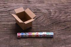 Mudanza a otra oficina o casa Relocalización de la palabra Imágenes de archivo libres de regalías