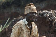 Mudbrick前在乌干达 免版税库存照片