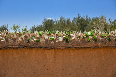 Mudbrick defensive wall in Morocco Stock Photography