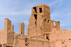 Mudbrick house architecture in Morocco. Traditional mudbrick houses in Morocco, Africa Stock Photo