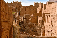 Mudbrick house ruins in Morocco Royalty Free Stock Photos
