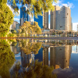 Muddled puddle. Melbourne city buildings reflected in a puddle Royalty Free Stock Photography