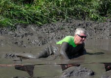 Muddy active senior. Active people of all ages, make thier way through the thick mud, during the July 2014 mudathlon in northwest Indiana Stock Image
