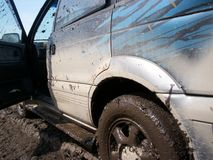 Muddy car with dirty drops Royalty Free Stock Images