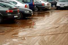 Muddy car parking Royalty Free Stock Photos