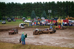 A muddy demolition derby Stock Photography