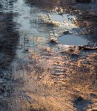 Muddy dirty road. Dirty muddy road with puddles Royalty Free Stock Image